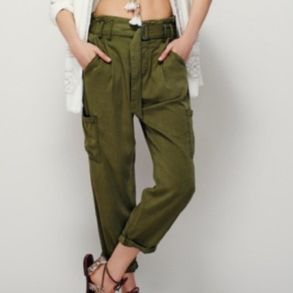 Free People Pants Jumpsuits Crop Cargo Pants Army Green Poshmark